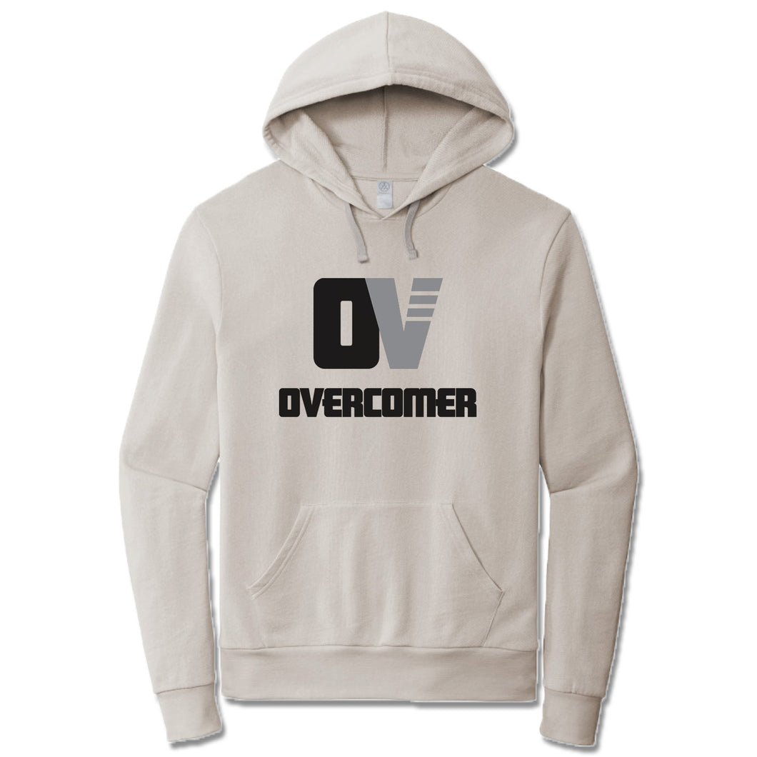 OVERCOMER | LIGHT GRAY FRENCH TERRY HOODIE | BLACK OV LOGO