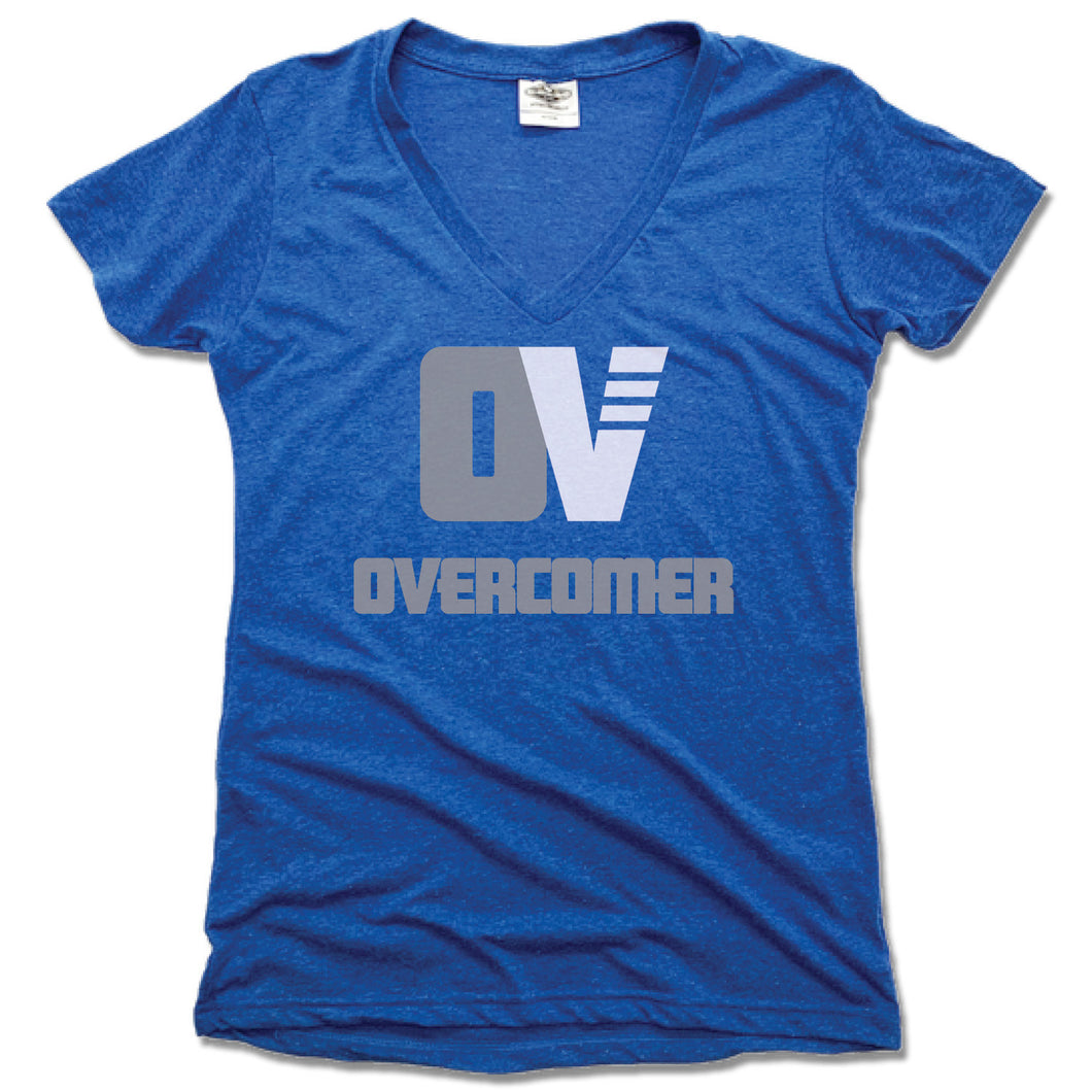 OVERCOMER | LADIES BLUE V-NECK | GRAY OV LOGO