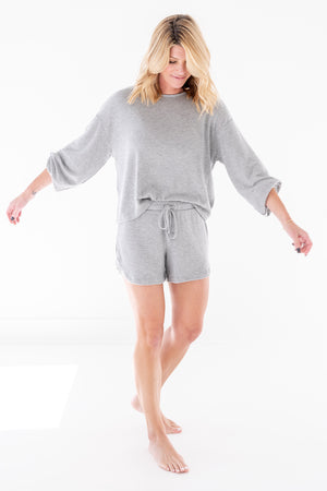 Heather Grey Crew Cozy Shorts