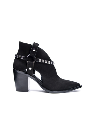 Tabby Nuback Leather Bootie - Black