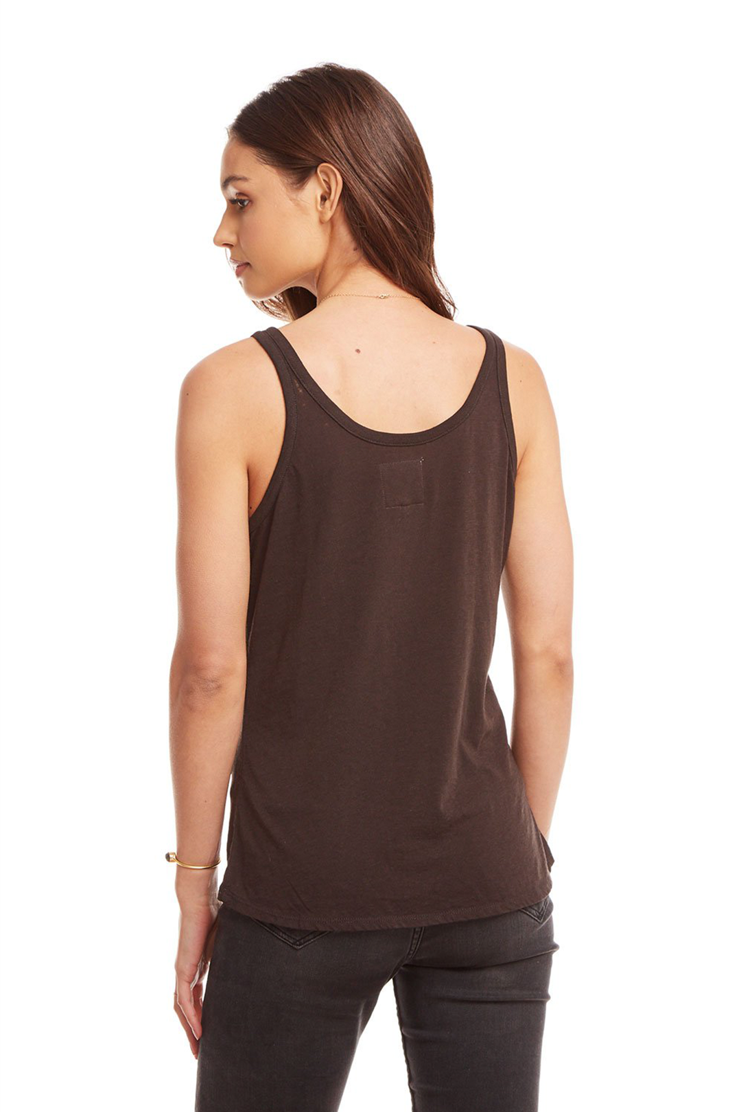 Chaser Vintage Jersey Snap Front Hi-Lo Henley Baby Tank - Union Black