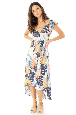Alpine Maxi Dress - Blush Palm Floral