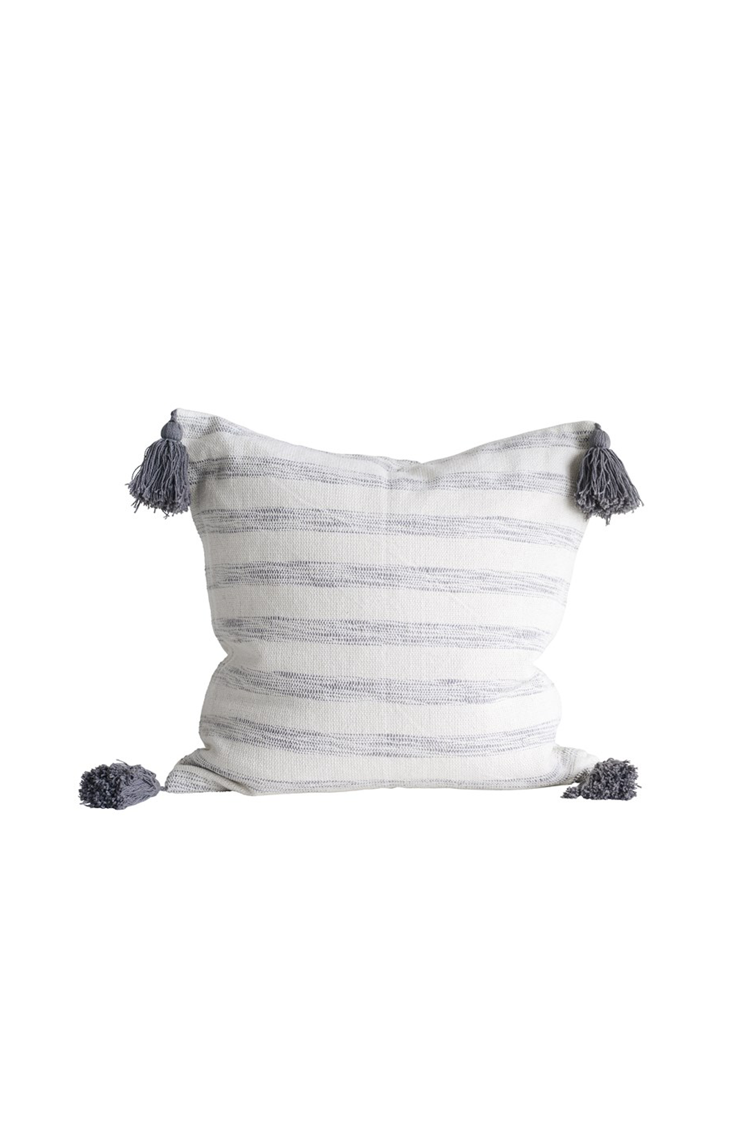 "18"" Square Striped Pillow w/ Tassels, White & Grey"