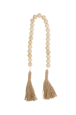 natural wood beads with jute
