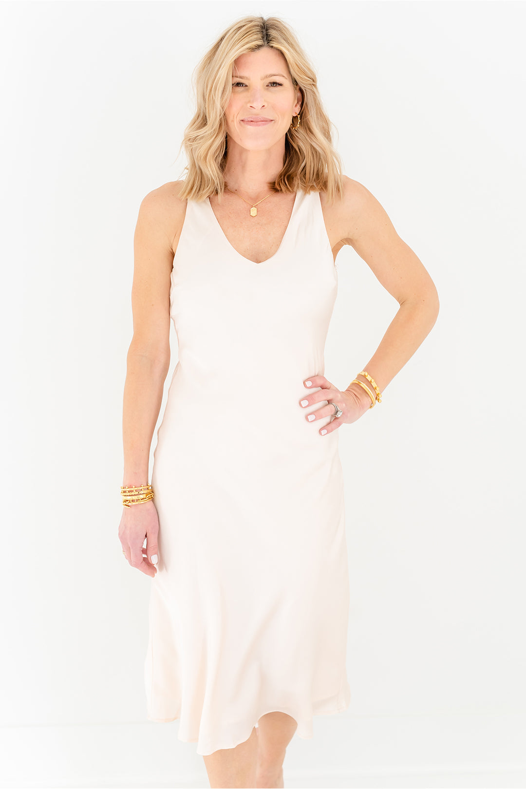 Bias Midi Dress - Cream