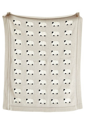 Grey Cotton Knit Blanket with Sheep
