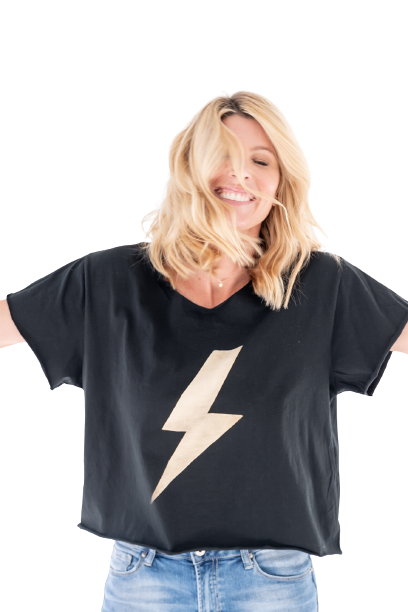 lightning bolt cropped tee