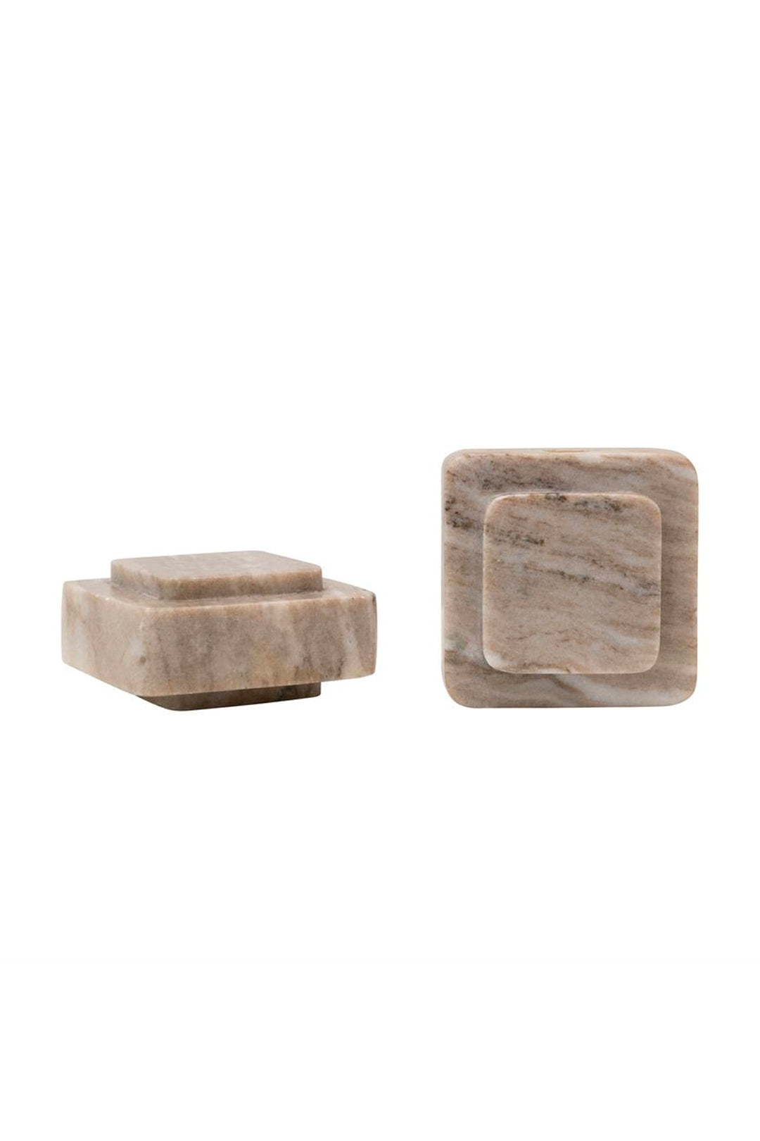 beige marble bookends - set of 2
