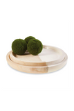 natural wooden round tray set