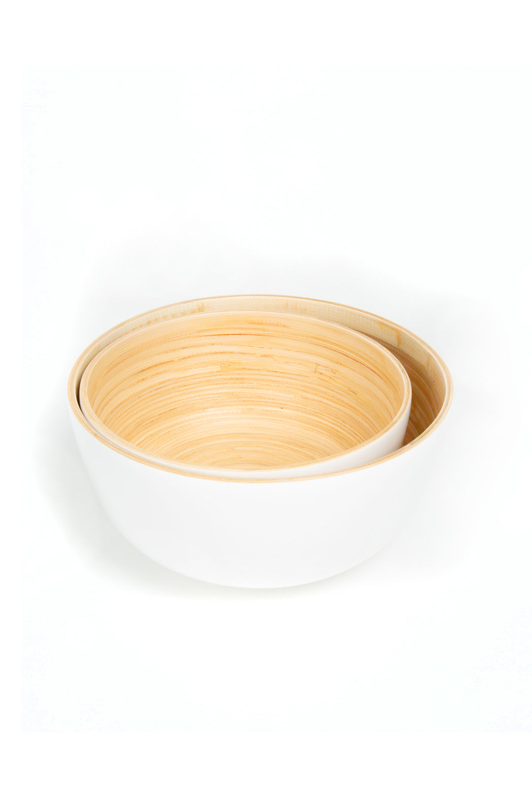 White Bamboo Salad Bowl - Blanc Gloss