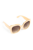 WOMEN'S OVERSIZED SUNGLASS WITH BROWN TINT LENSE- BEIGE