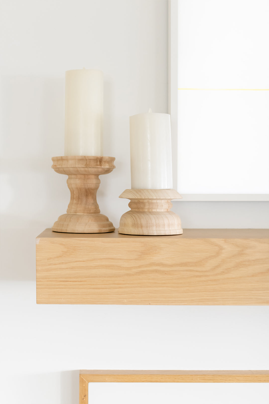 natural wooden candlesticks