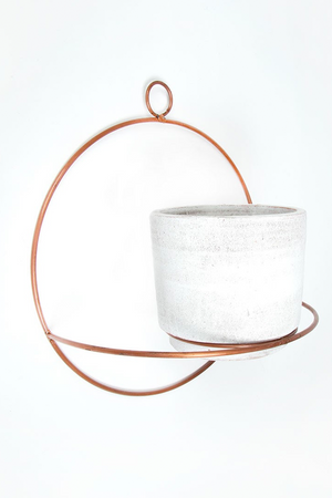 Copper Metal Wall Planter with White Pot