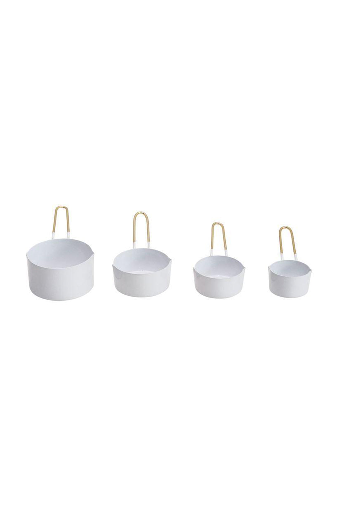 Enameled Measuring Cups w/Gold Finish Handles, Set of 4