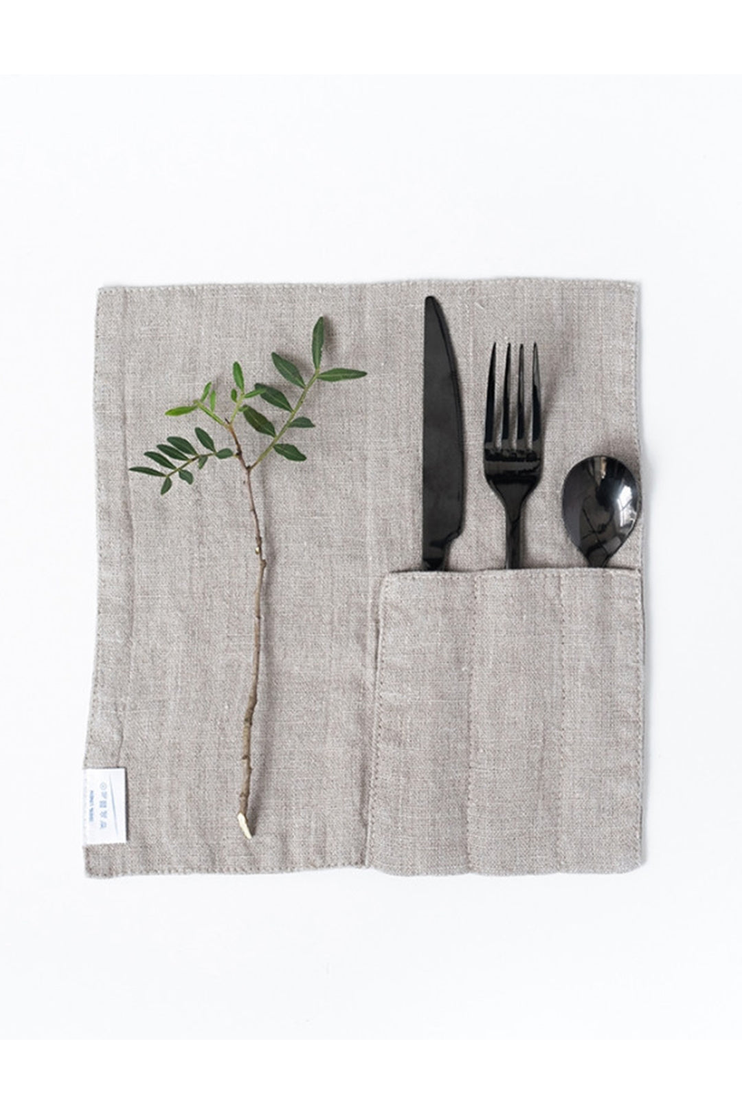 Natural Washed Linen Cutlery Pockets, Set of 2