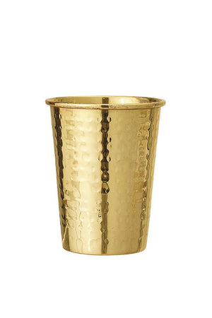 Hammered Stainless Steel Cup, Brass Finish
