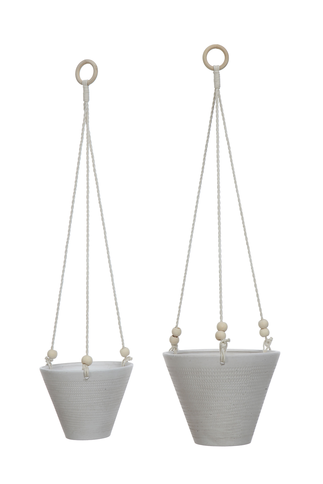 Embossed Textured Stoneware Hanging Planter w/Rope