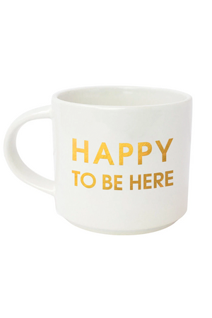 HAPPY TO BE HERE METALLIC GOLD MUG