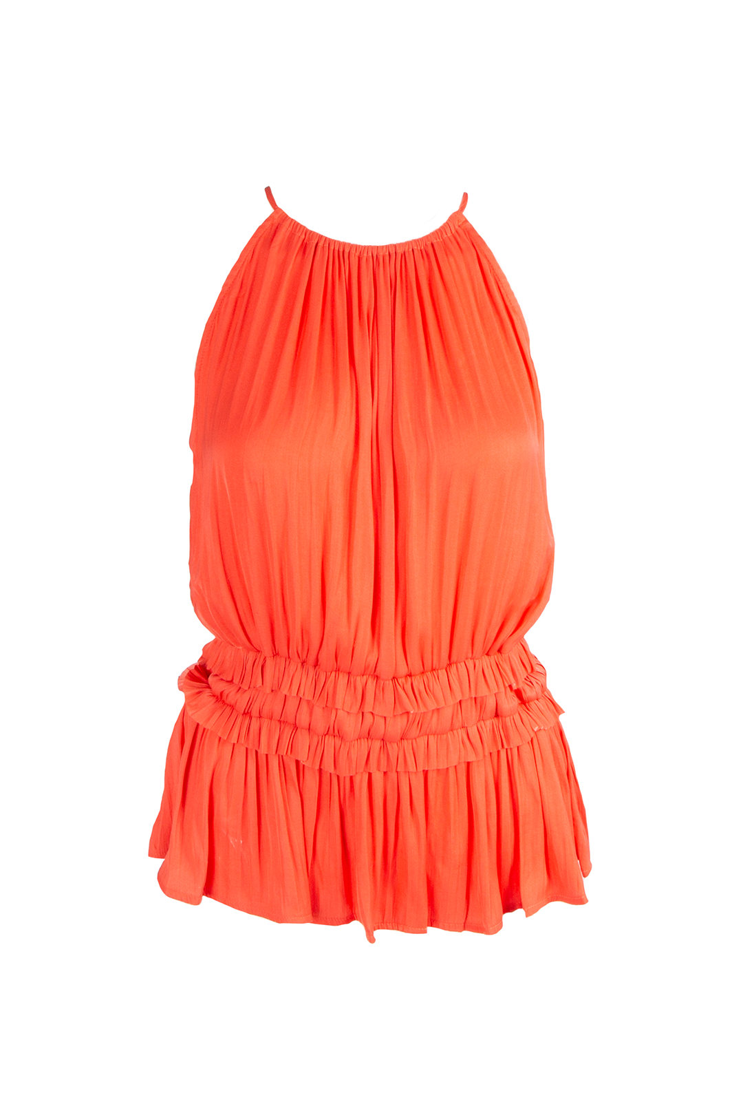 Pleated Halter Top with Back Cut Out - Tangerine
