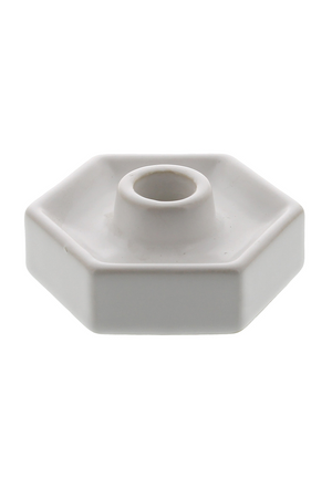 Hexagon Ceramic Taper Holder - Matte White