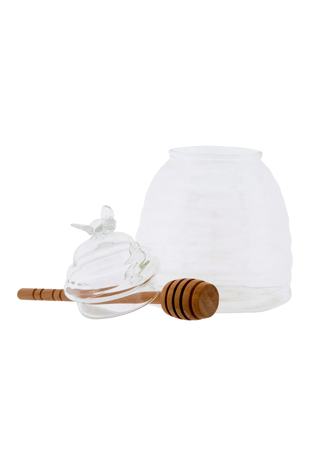 Glass Honey Jar w/Wood Honey Dipper