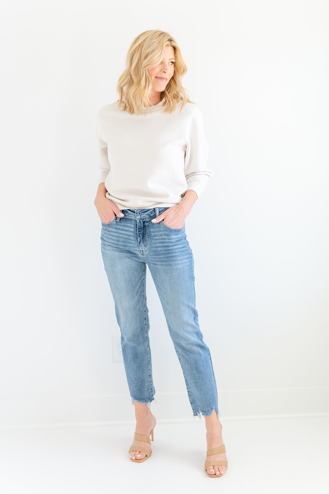 Medium Wash High Rise Relaxed Straight Jean