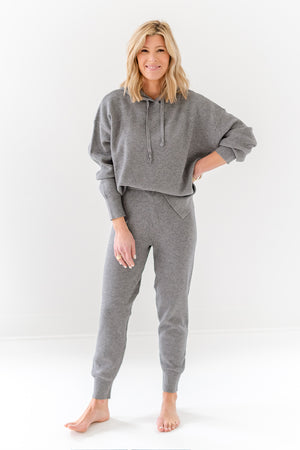 grey knit joggers set