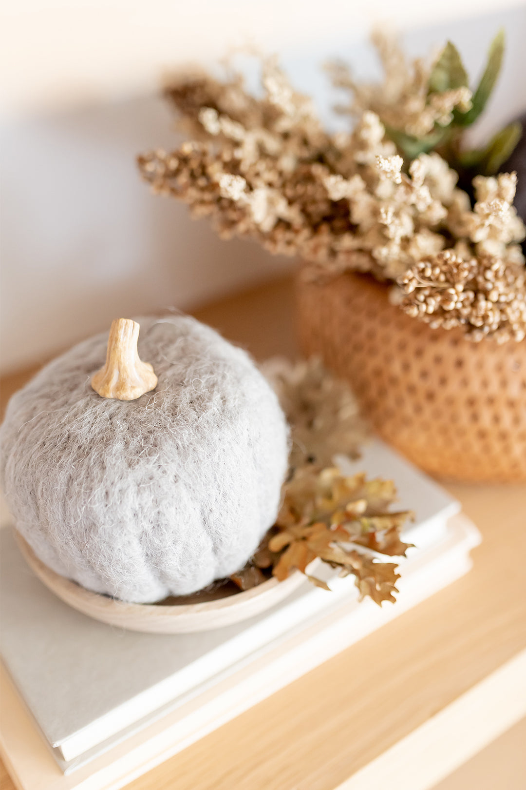 Wool Felt Pumpkin w/Resin Stem