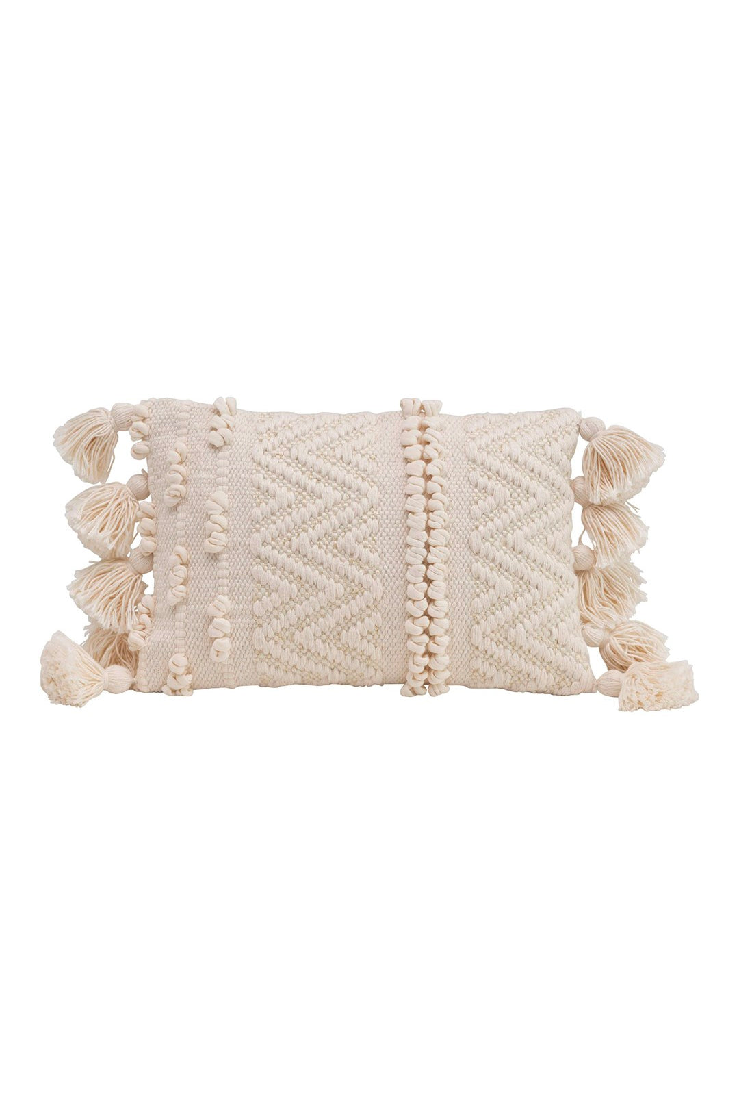 textured lumbar pillow with tassels