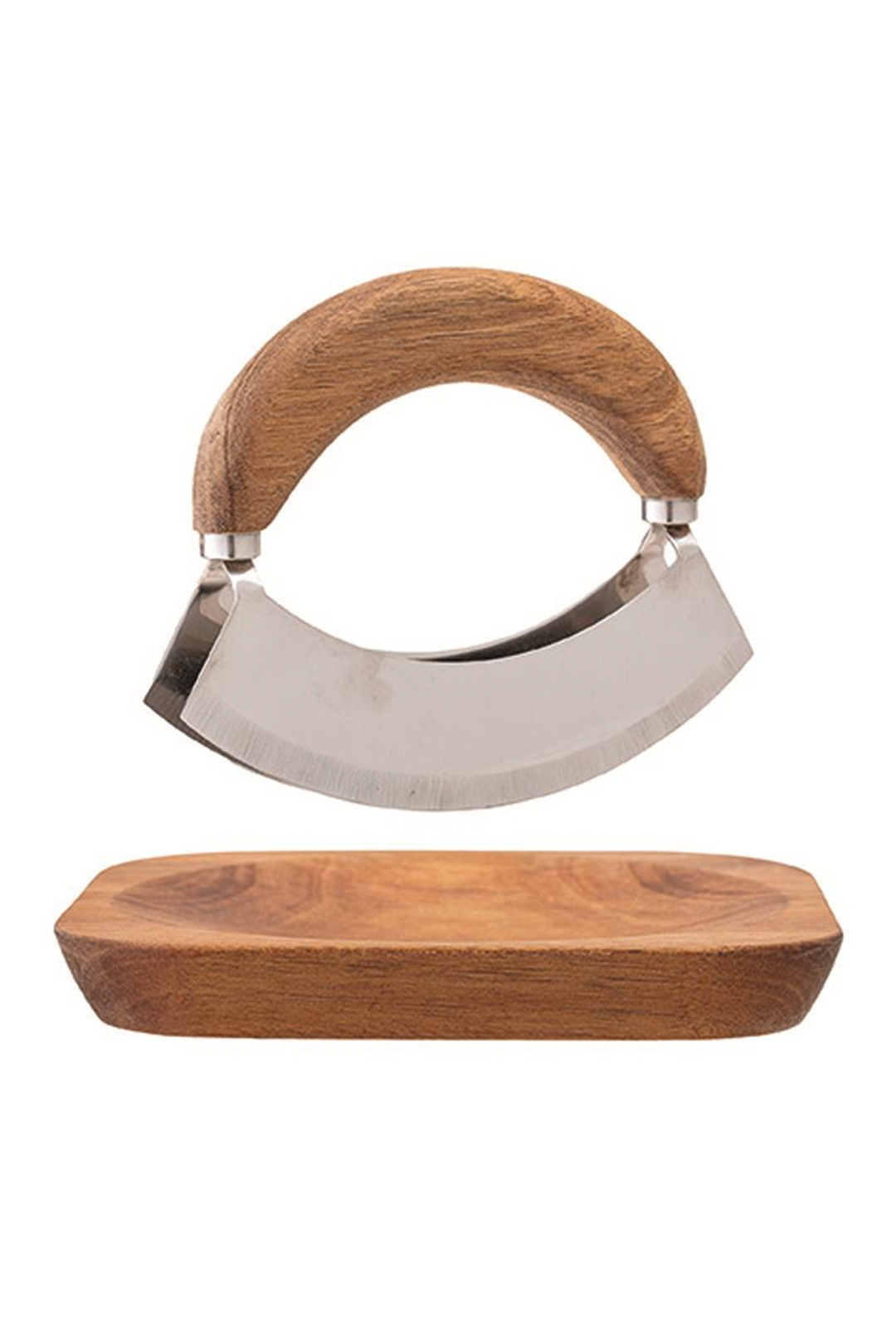 acacia wood + stainless steel mezzaluna w/ square cutting board