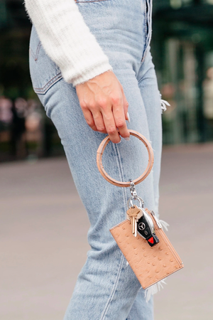 Leather Big O® Key Ring - Mocha Ostrich