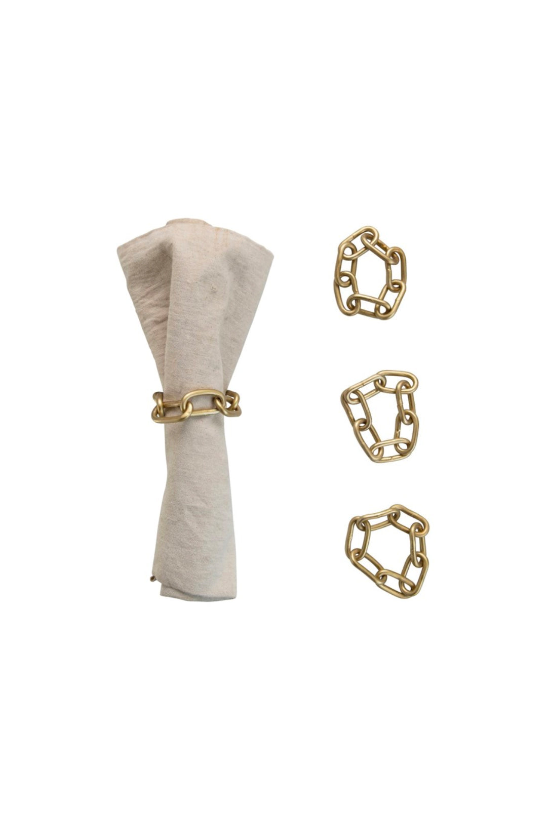 Metal Chain Napkin Rings w/Brass Finish, Set of 4