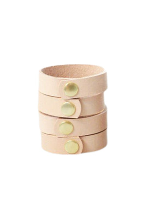 Leather Napkin Rings - Natural/Brass, Set of 4