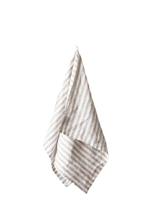 Natural Striped Washed Linen Tea Towel