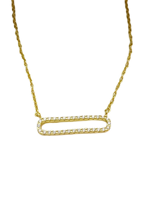 Gold Plated Rectangle Necklace w/Cz Stones