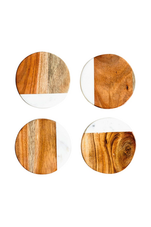 "4"" Marble & Mango Wood Coasters, Set of 4"
