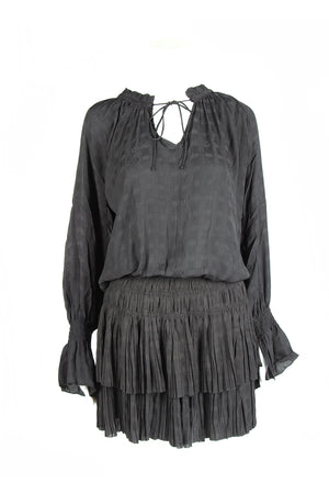 Notched Ruffled Collar w/ Self Tie Long Sleeve Dress