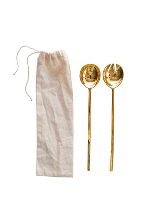 Brass Salad Servers in Fabric Bag