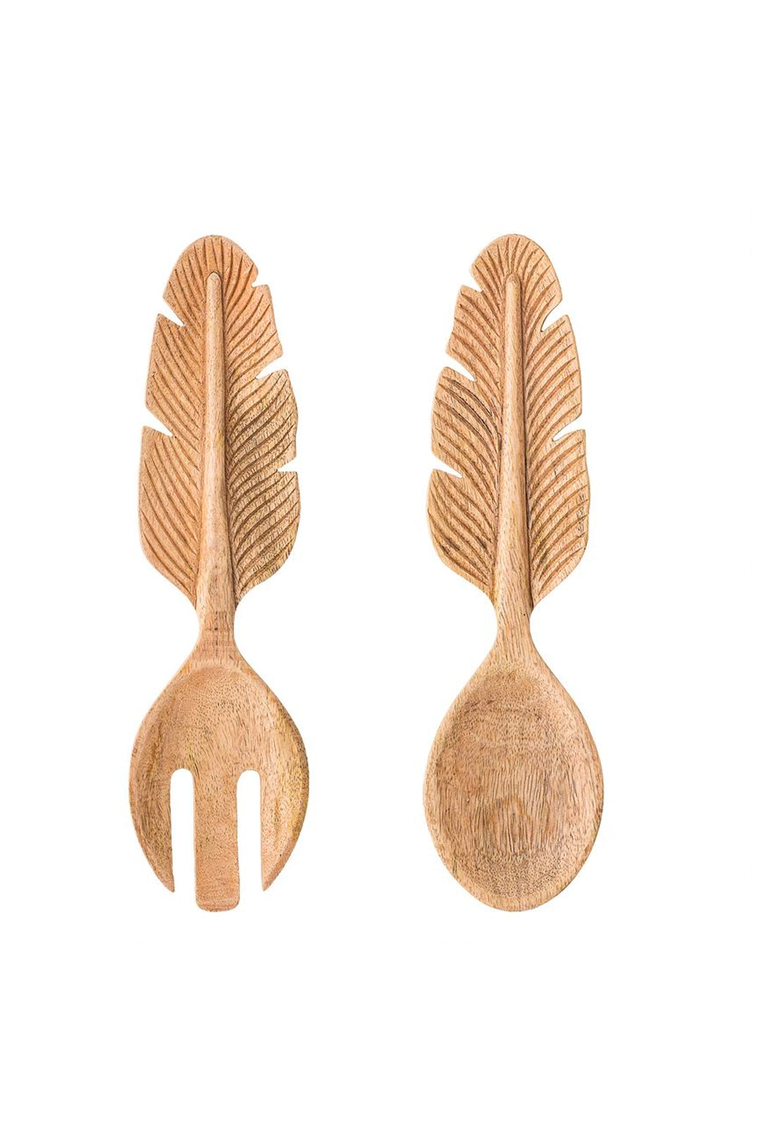 Mango Wood Salad Servers w/Feather Handle, Set of 2