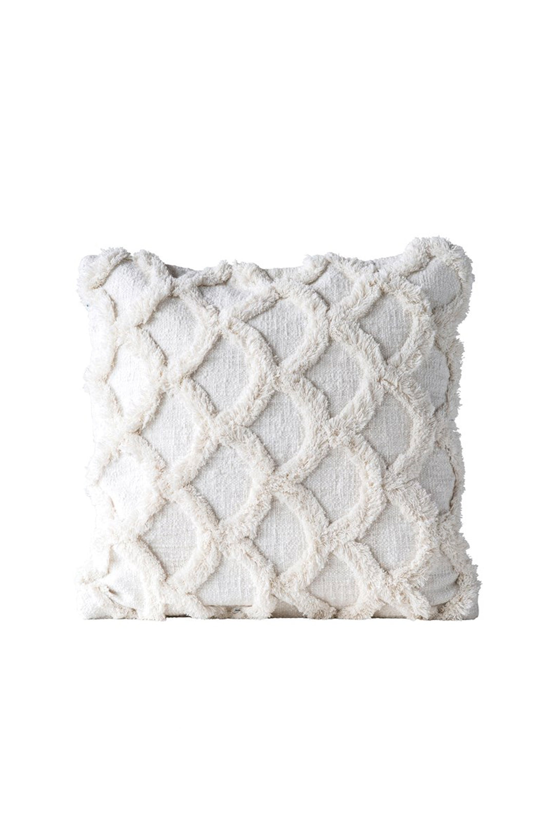 Chenille Scalloped Pillow - White