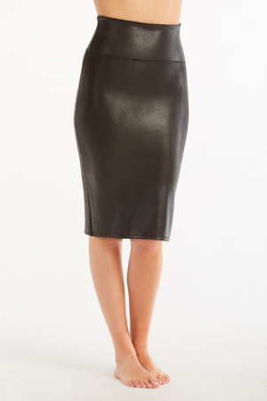SPANX Faux Leather Pencil Skirt - Very Black