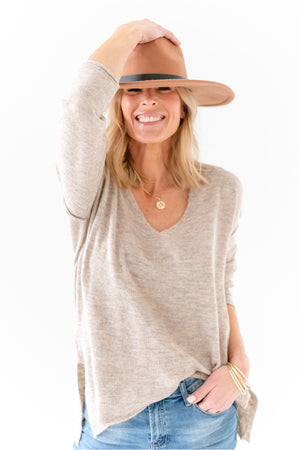 soft v neck sweater - tan