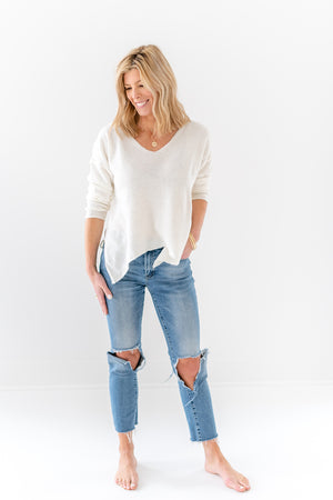 soft v neck sweater