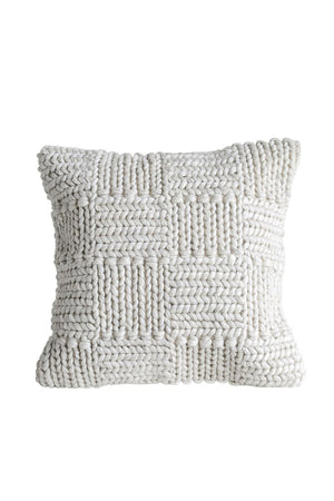 Square Knit Wool Pillow - Cream