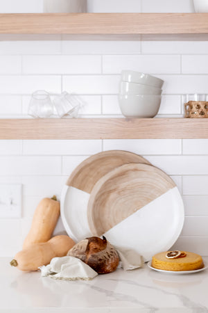round wood tray set