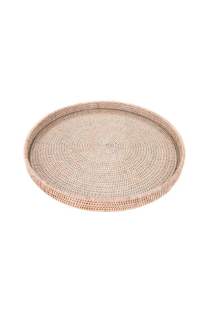 Round Serving Tray - White Wash