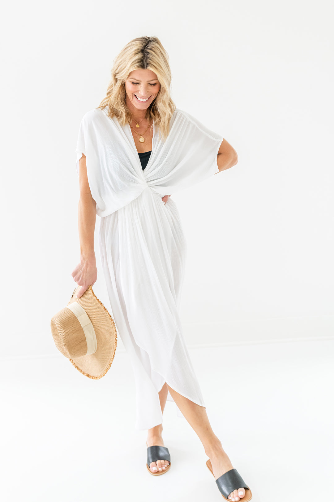 White Twist Front Maxi Dress