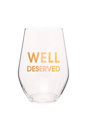 Well Deserved - Gold Foil Stemless Wine Glass