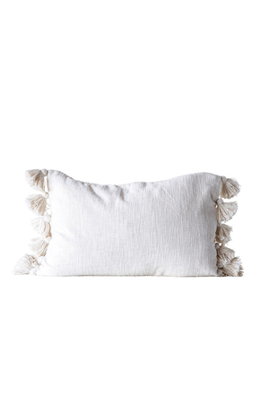 Cotton Slub Pillow w/ Tassels - Cream