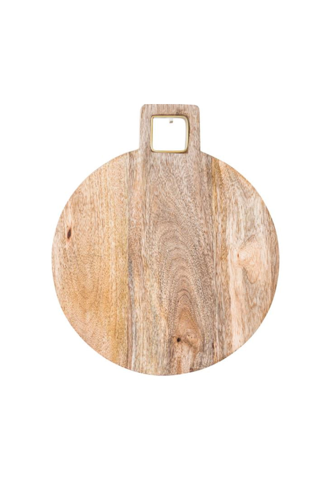 Mango Wood Cutting Board w/Brass Trim Handle